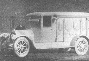 Pat Hack's new auto hearse.1913