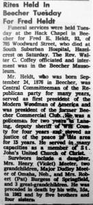 Rites for Fred E Heldt 1969