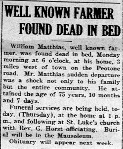 William Matthies obit 1