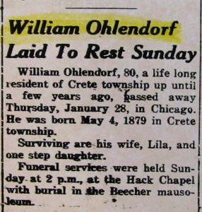 William Ohlendorf death notice