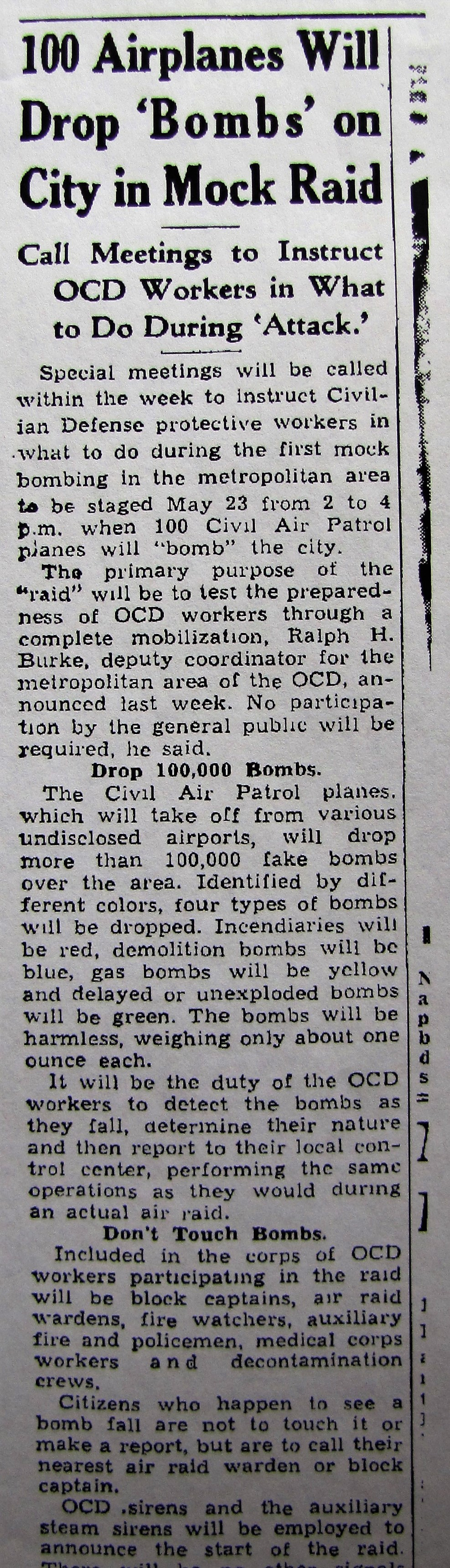 1943 100 Airplanes Will Drop 'Bombs' on City in Mock Raid